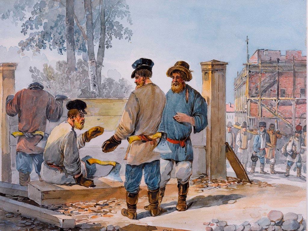 Изображение древних строителей