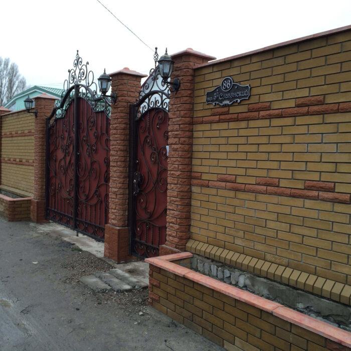 Фотография очень интересный забор из кирпича Литос
